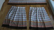 3 PS MID CENTURY VINTAGE SEARS ACAPULCO CURTAINS 2 CAFE PINCH PLEATS 1 VALANCE