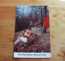 Unused Oversize Postcard Comic The Only Buck I Saw All Year Hunting Season 1956