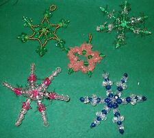Vintage CHRISTMAS HANDMADE ORNAMENTS - 5 STARS  lots of beads & sequins