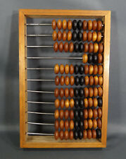 ANTIQUE RETAIL STORE OAK WOODEN ABACUS CALCULATOR TOOL 15'' DOVETAIL BINDING