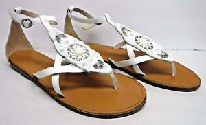 Tommy Bahama Size 7 White Leather Glass Bead Embellishment New Womens Shoes