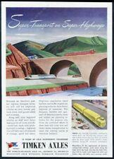 1944 streamlined future semi truck bus art Timken Axles vintage print ad