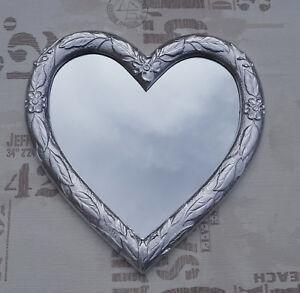 Wall Mirror Heart Mirror Love Shape Baroque Silver Love Gift 88