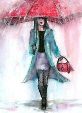 ACEO Rain red umbrella woman landscape original painting art card signed