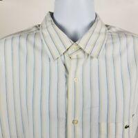 Lacoste Mens Flap Pocket White Blue Brown Striped Dress Button Shirt Sz 46
