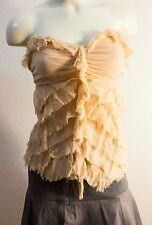 BEBE strapless beige 100% silk top ruffles semi-sweetheart boho bustier S empire