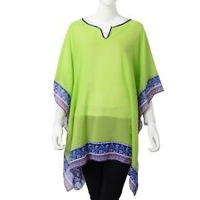 Green With Multi coloured Floral Border Poncho/Kimono Style Top Free Size