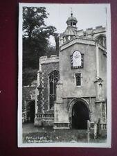 POSTCARD RP SUFFOLK EAST BERGHOLT CHURCH PORCH & SUNDIAL