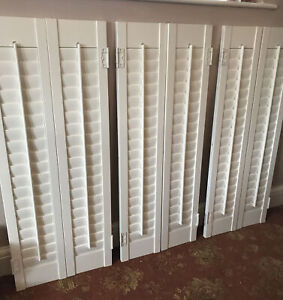 6 X Large Wooden Louvre Shutters Window White - 3 Pairs