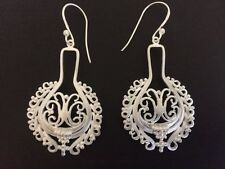 925 Sterling Silver Disc Earrings Filigree Circle Teardop Tribal Ethnic Indian