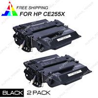 2 PK CE255X 55X Toner Cartridge For HP LaserJet Pro 500 M521DN M521DW Printer