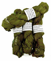 100g Recycled Sari Silk Ribbon Yarn, Jewelry Making Trim - Olive Green
