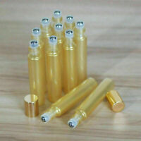 10ML Gold Glass Bottle Steel Ball Gold Cap Roller Bottles for Perfume Essential
