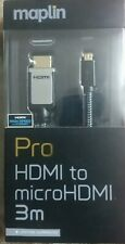 Maplin Pro microHDMI 1080p 4K Resolution Pure Copper Conductors Gold 3D Cable 3M
