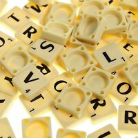 100 IVORY PLASTIC SCRABBLESS TILES BLACK LETTERS NUMBERS FOR CRAFTS IVORY UK