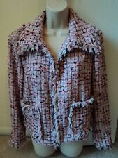 ST. JOHN Multi-Color Tweed Knit Fringe Trim Open Front Jacket w/ Pockets SZ 10