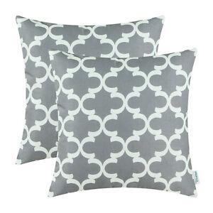 2Pcs Gray Cushion Covers Pillows Shell Quatrefoil Accent Geometric Decor 45x45cm