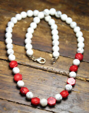 """Red Coral Cross Cut Octagon 10mm Gemstone and White 8mm Agate Ball Necklace 20"""""""