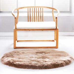 Round Australia pure Sheepskin Fur Area Rug for Bedroom 4 x 4 Feet Round