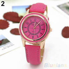 Ladies Fashion Rose Gold Geneva Rose Red Faced Rose Red Band Wrist Watch.