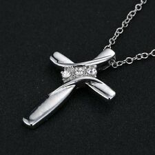 Elegant Handmade Crystal Shiny Silver Cross Women Lady Necklace Pendant Jewelry