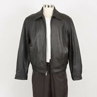 Mens LONDON FOG Soft Leather Jacket Size L Insulated Quilted Liner