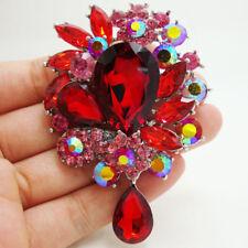 Vintage Style Art Deco Flower Drop Brooch Pin Pendant Red Rhinestone Crystal