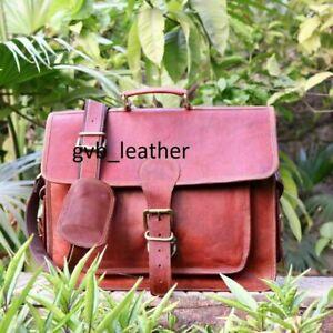 Custom  Leather bull messenger bag laptop padded bag shoulder bag men Briefcase