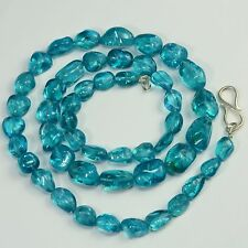 Neon Blue Apatite Tumbled Freeform Nugget  Beads 20.8 inch strand