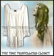Topshop Cream Boho Hippy 60s Floral Crochet Lace Lined Dress Tunic Top UK 6 8