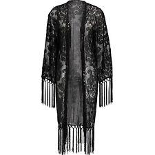 KUSH Silver-Toned Lurex Tassel Fringed Baroque Damask Brocatelle Kimono