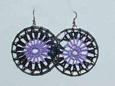 LARGE PURPLE AND BLACK DREAM CATCHER HOOP EARRINGS SILVER PLATED FITTINGS