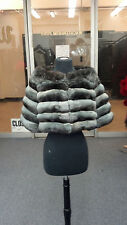EMPRESS CHINCHILLA Cocktail BOLERO SHRUG JACKET Coat DYED NEW BLUE/GREY COLOR