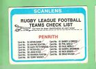 1979 PENRITH PANTHERS SCANLENS RUGBY LEAGUE CHECKLIST CARD - MARKED