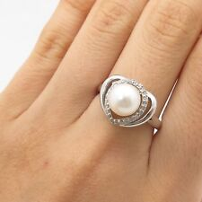 Signed 925 Sterling Silver Real Diamond Pearl Heart Love Ring Size 8