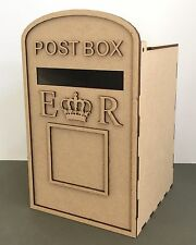 Y54 Wedding Post Box, Royal Mail Styled, Flat Pack, Unpainted MDF for Cards etc