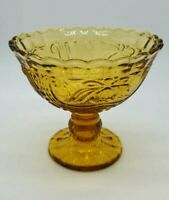 YELLOW DEPRESSION GLASS CANDY DISH COMPOTE FOOTED DISH VINTAGE RARE