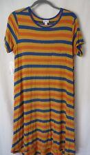 LuLaRoe Carly Dress Short Sleeve Blue Gold and Orange Stripe Size XL #5501