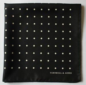 Turnbull & Asser Silk pocket square handkerchief. Black & white spots