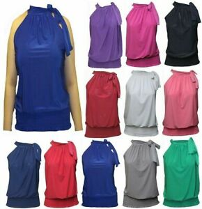 New Sleeveless Halter Neck Draped Ruched Bow Tie Top Ladies Blouse Party Tops