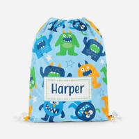 Personalised Blue Cartoon Monster Kids Swimming School Childrens Drawstring Bag