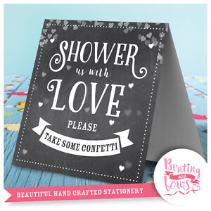 Confetti Wedding Table Top Shower us with Love Vintage Sign Chalkboard Print