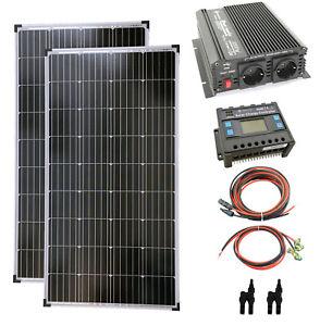 Komplettset 2x140 Watt Solarmodul 1000 Watt Wandler Laderegler Photovoltaik PV