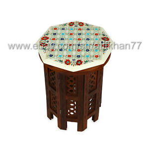 Coffee Side Table Egyptian Handcrafted Marble Inlay End Table Pietra Dura Art