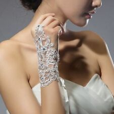 White Bridal Wedding Lace Fingerless Gloves Wrist Length Rhinestone Accents