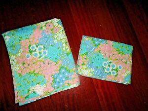 VINTAGE JCP PENNEY FASHION MANOR PINK BLUE ALL OVER FLORAL (2PC) FULL SHEET SET