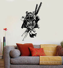 Vinyl Wall Decal Samurai Mask Katana Asian Art Style Stickers Mural (ig3734)