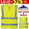 NEW Portwest Hi Vis Yellow Two Band & Brace Vest High Visibility Compliant Work