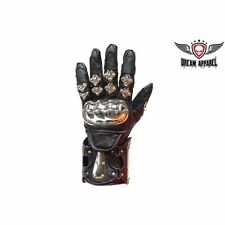 BIKER Motorcycle Men's Leather Racing Gloves With metal Knuckle Protector t#GLZ8