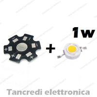 Chip led 1W bianco freddo 350mA 3V 3.6V con dissipatore alluminio lampadina bulb